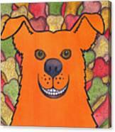 Happy Orange Doggy Dog Canvas Print