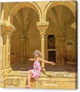 Happy Tourist Visits Coimbra Canvas Print