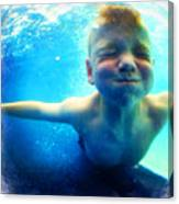 Happy Under Water Pool Boy Square Canvas Print