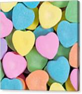 Happy Valentines Day With Colorful Heart Shaped Candies Canvas Print