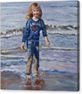 Happy With Sea And Sand Canvas Print