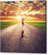 Happy Woman Jumping On Long Straight Road Canvas Print