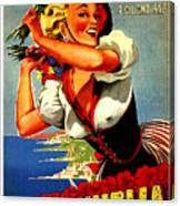 Happy Woman With Flowers, Festival In Ventimiglia, Italy Canvas Print