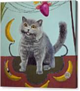 Happycat Can Has Banana Phone Canvas Print
