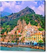 Harbor At Amalfi Canvas Print