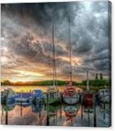 Harbor Fire Reflections Canvas Print