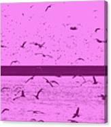 Harbor Gulls Purple Canvas Print