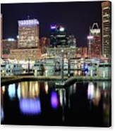 Harbor Nights In Baltimore Canvas Print
