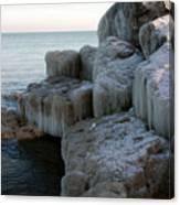 Harbor Rocks In Ice Canvas Print
