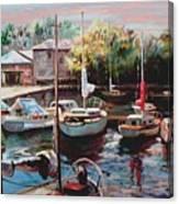 Harbor Sailboats At Rest Canvas Print