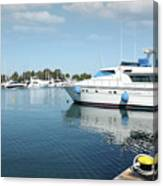 Harbor With Yacht And Boats Canvas Print