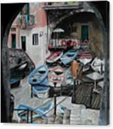 Harbor's Edge In Riomaggiore Canvas Print