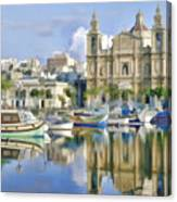 Harborside Msida Malta Canvas Print