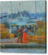 Hard Work At Lobster Dock Boothbay Harbor Maine Canvas Print