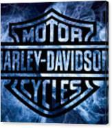 Harley Davidson Logo Blue Canvas Print