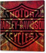 Harley Davidson Logo Confederate Flag Canvas Print