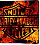 Harley Davidson Logo Flames Canvas Print