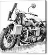 Harley Davidson Military Motorcycle Bw Canvas Print