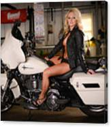 Harley Davidson Motorcycle Babe Canvas Print