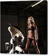 Harley Davidson Motorcycle Bikini  Canvas Print
