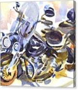Motorcycle In Watercolor Canvas Print