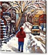 Winter Walk After The Snowfall Best Montreal Street Scenes Paintings Canadian Artist Paysage Quebec Canvas Print