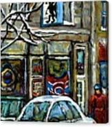 Achetez Les Meilleurs Scenes De Rue Montreal St Henri Cafe Original Montreal Street Scene Paintings Canvas Print