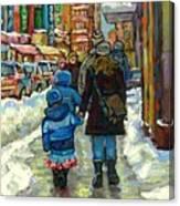 Exceptional Canadian Artist Winter Scene Paintings Downtown Montreal Achetez Scenes De Quebec  Canvas Print