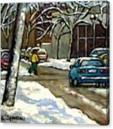 Canadian Artist Winter Scenes Original Paintings Quebec Streets Achetez  Montreal Art Online Canvas Print