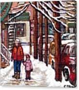 Canadian Winter Scene Paintings Original Art Verdun Montreal Achetez Scenes De Rue Quebec C Spandau  Canvas Print