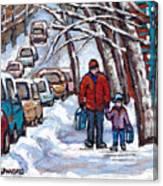 Paysages De Verdun Quebec A Vendre Original Verdun Montreal Winter Staircase Street Scene Paintings  Canvas Print