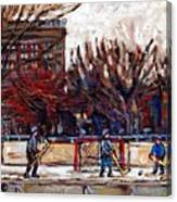 Paysages De Quebec Petits Formats A Vendre Hockey Rink Paintings Psc Original Montreal Street Scenes Canvas Print