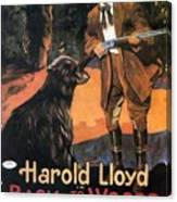 Harold Lloyd In Back To The Woods 1919 Canvas Print