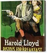 Harold Lloyd In Pistols For Breakfast 1919 Canvas Print