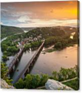 Harpers Ferry National Historical Park Maryland Heights Sunset Canvas Print