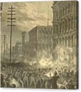 Harpers Sixth Regiment Fighting Railroad Strikers Canvas Print