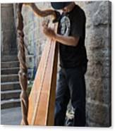 Harpist Street Musician, Barcelona, Spain Canvas Print