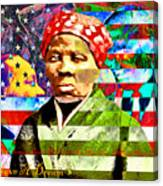 Harriet Tubman Martin Luther King Jr Malcolm X American Flag 20160501 Text Canvas Print