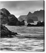 Harris Beach Oregon Monochrome Canvas Print