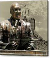 Harry Caray Statue With Historic Wrigley Scoreboard In Heirloom Canvas Print