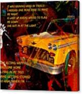 Harry Chapin Taxi Song Poster With Lyrics Canvas Print