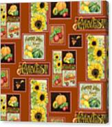 Harvest Market Pumpkins Sunflowers N Red Wagon Canvas Print