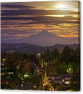 Harvest Moon 2016 Moonrise Over Happy Valley Oregon Canvas Print