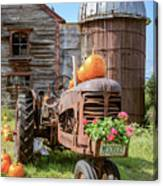 Harvest Time Vintage Farm With Pumpkins Canvas Print