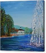 Harveston Lake Fountain Canvas Print