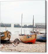 Hastings England Beached Fishing Boats Canvas Print