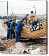 Hastings England Fishermen On Boat Canvas Print