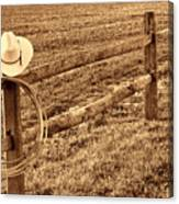 Hat And Lasso On Fence Canvas Print