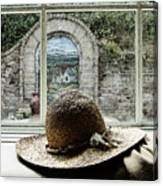 Hat In Window Canvas Print