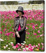 Hatted Lady In A Field Canvas Print